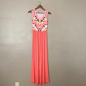 12PM by Mon Ami Boutique Tribal Coral Maxi Dress S